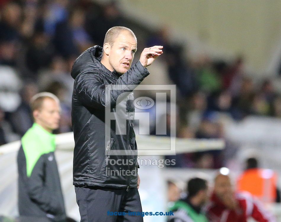 Hartlepool United joint caretaker manager Sam Collins during the Johnstone's Paint Trophy match at Victoria Park, Hartlepool<br /> Picture by Simon Moore/Focus Images Ltd 07807 671782<br /> 07/10/2014