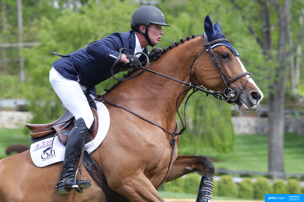 NORTH SALEM, NEW YORK - May 15: Charles Jacobs, USA, riding Cassinja S, in action during The $50,000 Old Salem Farm Grand Prix presented by The Kincade Group at the Old Salem Farm Spring Horse Show on May 15, 2016 in North Salem. (Photo by Tim Clayton/Corbis via Getty Images)
