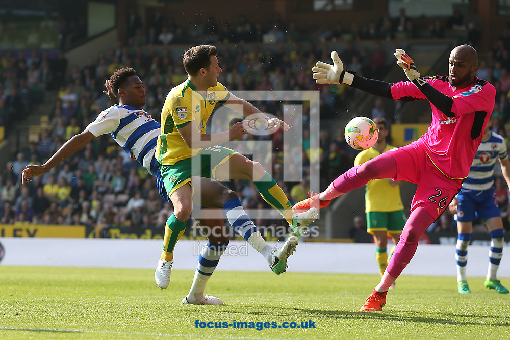 After a massive scramble Wes Hoolahan of Norwich scores his side's 6th goal during the Sky Bet Championship match at Carrow Road, Norwich<br /> Picture by Paul Chesterton/Focus Images Ltd +44 7904 640267<br /> 08/04/2017