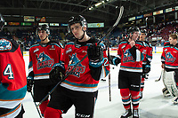 KELOWNA, BC - SEPTEMBER 28:  Dillon Hamaliuk #22 and Jake Lee #21 of the Kelowna Rockets exit the ice after the win against the Everett Silvertips  at Prospera Place on September 28, 2019 in Kelowna, Canada. (Photo by Marissa Baecker/Shoot the Breeze)