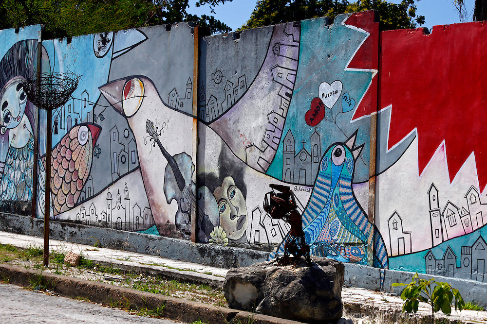 Central America, Cuba, Havana. Mural of Muraleando neighborhood.