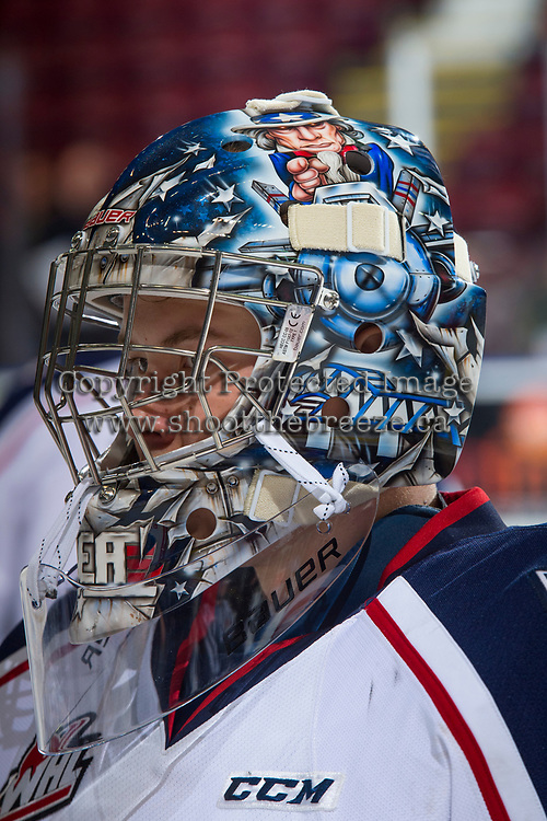 KELOWNA, CANADA - OCTOBER 27: Patrick Dea #30 of the Tri-City Americans stands at the bench during warm up against the Kelowna Rockets on October 27, 2017 at Prospera Place in Kelowna, British Columbia, Canada.  (Photo by Marissa Baecker/Shoot the Breeze)  *** Local Caption ***