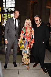 Boris Messmer, Virginia Bates and David Downton at the Balenciaga Shaping Fashion VIP Preview, The V&A Museum, London England. 24 May 2017.<br /> Photo by Dominic O'Neill/SilverHub 0203 174 1069 sales@silverhubmedia.com