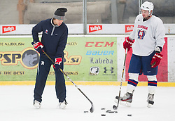 Gaber Glavic and Matic Podlipnik during practice session of Slovenian Ice Hockey National Team for IIHF World Championship in Sweden and Finland, on March 28, 2013, in Arena Zlato Polje, Kranj, Slovenia. (Photo by Vid Ponikvar / Sportida.com)