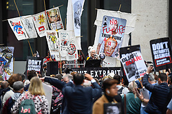 © Licensed to London News Pictures. 07/09/2020. LONDON, UK. Dame Vivienne Westwood addresses supporters of Wikileaks founder Julian Assange at a protest outside the Old Bailey as his extradition hearing, which is expected to last for the next three or four weeks, resumes after it was postponed due to the coronavirus pandemic lockdown.  Julian Assange is wanted in the US for allegedly conspiring with army intelligence analyst Chelsea Manning to expose military secrets in 2010.  Photo credit: Stephen Chung/LNP