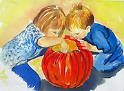 Pumpkin Carving. Watercolor. ©JoAnn Hawkins