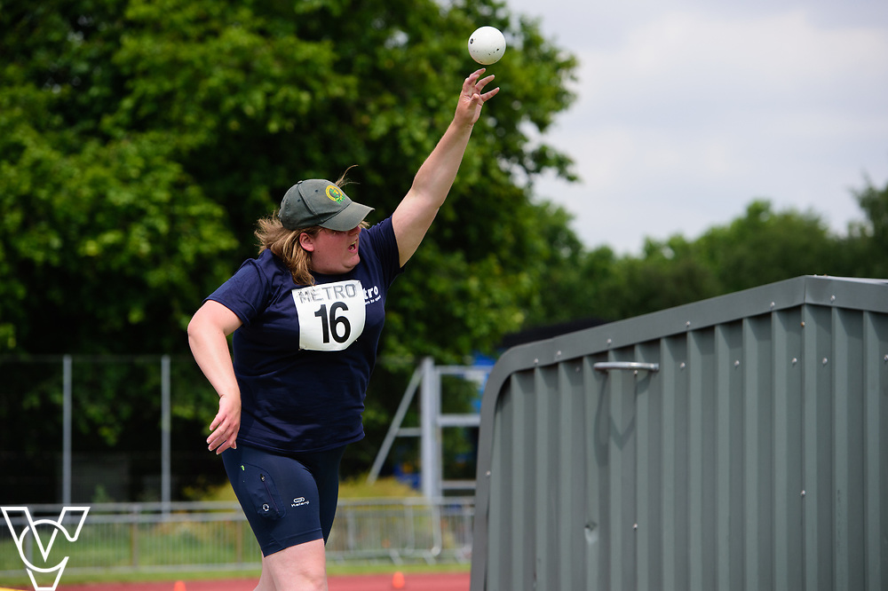 Metro Blind Sport's 2017 Athletics Open held at Mile End Stadium.  Shot put.  Becky King<br /> <br /> Picture: Chris Vaughan Photography for Metro Blind Sport<br /> Date: June 17, 2017