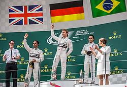 21.06.2015, Red Bull Ring, Spielberg, AUT, FIA, Formel 1, Grosser Preis von Österreich, Rennen, im Bild v.l. 2. Platz Lewis Hamilton, (GBR, Mercedes AMG Petronas F1 Team), 1. Platz Nico Rosberg, (GER, Mercedes AMG Petronas F1 Team), 3. Platz Felipe Massa, (BRA, Williams Martini Racing), Johanna Mikl-Leitner (AUT, Innanministerinn) // during the Race of the Austrian Formula One Grand Prix at the Red Bull Ring in Spielberg, Austria, 2015/06/21, EXPA Pictures © 2015, PhotoCredit: EXPA/ Dominik Angerer