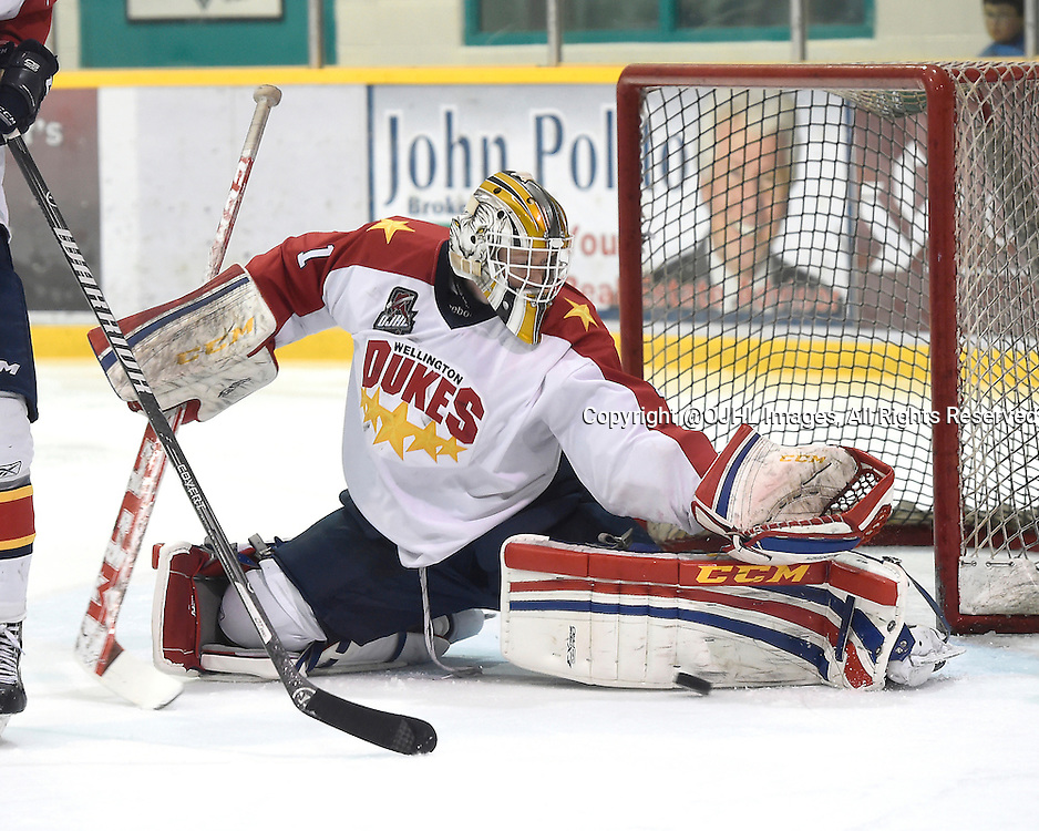 LINDSAY, ON - Oct 24, 2014 : Ontario Junior Hockey League game action between Wellington and Lindsay, Taylor Welsh #1 of the Wellington Dukes Hockey Club makes the save during the second period.<br /> (Photo by Andy Corneau / OJHL Images)