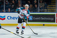 KELOWNA, CANADA - JANUARY 30: Schael Higson #21 of the Kelowna Rockets passes the puck against the Seattle Thunderbirds  on January 30, 2019 at Prospera Place in Kelowna, British Columbia, Canada.  (Photo by Marissa Baecker/Shoot the Breeze)