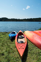 Kayaks Along Cascade Lake Shoreline at Moran State Park, Orcas Island, Washington