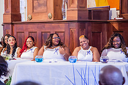 (L-R) Jerice Lake, Sabrina Katwaru, Sierra Jno-Lewis, Juanita Grant and Halimah Blanc.  Ten graduates of the University of the Virgin Islands School of Nursing commemorated their graduation with a pinning ceremony and lighting of candles while surrounded by nursing alumni, family, and friends.  University of the Virgin Islands School of Nursing 2015 Pinning Ceremony.  St. Thomas Reformed Church.  St. Thomas, VI.  12 May 2015.  © Aisha-Zakiya Boyd