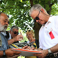 CANASTOTA, NY - JUNE 14: Boxing commentator and inductee Jim Lampley signs autographs at the International Boxing Hall of Fame induction Weekend of Champions events on June 14, 2015 in Canastota, New York. (Photo by Alex Menendez/Getty Images) *** Local Caption *** Jim Lampley