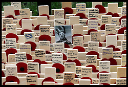 Wooden crosses at the Field of Remembrance at Westminster Abbey in London, Tuesday 6th November 2012. The officially opening will be performed  by the Duke of Edinburgh  on Thursday  8th November 2012. Photo by: Stephen Lock / i-Images