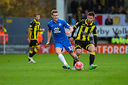 Peterborough United defender Callum Elder wins the ball in midfield during the The FA Cup match between Burton Albion and Peterborough United at the Pirelli Stadium, Burton upon Trent, England on 7 November 2015. Photo by Aaron Lupton.