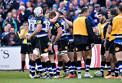 Stuart Hooper of Bath Rugby is congratulated on his try - Mandatory byline: Patrick Khachfe/JMP - 07966 386802 - 17/10/2015 - RUGBY UNION - The Recreation Ground - Bath, England - Bath Rugby v Exeter Chiefs - Aviva Premiership.