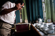 Andrew Taylor Andrew Taylor, a descendant of James Taylor, the man credited with bringing tea to Sri Lanka, spits tea after sampling it at the plant  of the Bogawantalawa Tea Estates near the town of Hatton in central Sri Lanka December 14, 2009. Tea is sampled similar to wine in that it is swished around in the mouth to get the full taste and then spit out. After being picked leaves are wilted overnight then dried and ground with in 24 hours to produce tea for auction.