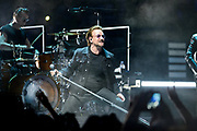 Drummer Larry Mullen Jr. and singer Bono perform with U2 at Bridgestone Arena on May 26, 2018.