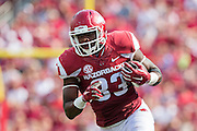 FAYETTEVILLE, AR - SEPTEMBER 5:  Jeremy Sprinkle #83 of the Arkansas Razorbacks runs the ball during a game against the UTEP Miners at Razorback Stadium on September 5, 2015 in Fayetteville, Arkansas.  The Razorbacks defeated the Miners 48-13.  (Photo by Wesley Hitt/Getty Images) *** Local Caption *** Jeremy Sprinkle