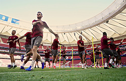 MADRID, SPAIN - Friday, May 31, 2019: Liverpool's Andy Robertson during a training session ahead of the UEFA Champions League Final match between Tottenham Hotspur FC and Liverpool FC at the Estadio Metropolitano. (Pic by Handout/UEFA)