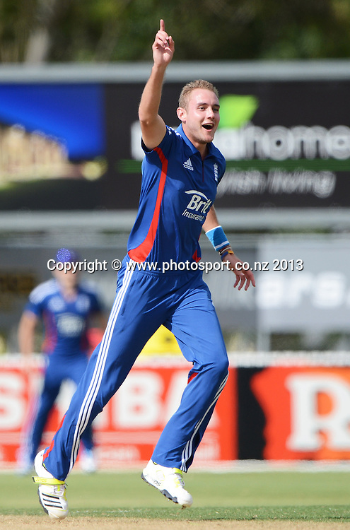 England captain Stuart Broad celebrates his hat trick. Twenty20 Cricket. England v NZ XI. England Cricket tour to New Zealand. Cobham Oval. Whangarei, New Zealand on Tuesday 5 February 2013. Photo: Andrew Cornaga/Photosport.co.nz
