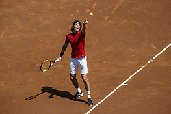 April 27, 2018 - Barcelona, Catalonia, Spain - STEFANOS TSITSIPAS (GRE) serves against Dominic Thiem (AUT) in their quarter final of the 'Barcelona Open Banc Sabadell' 2018. Tsitsipas won 6:3, 6:2 (Credit Image: © Matthias Oesterle via ZUMA Wire)