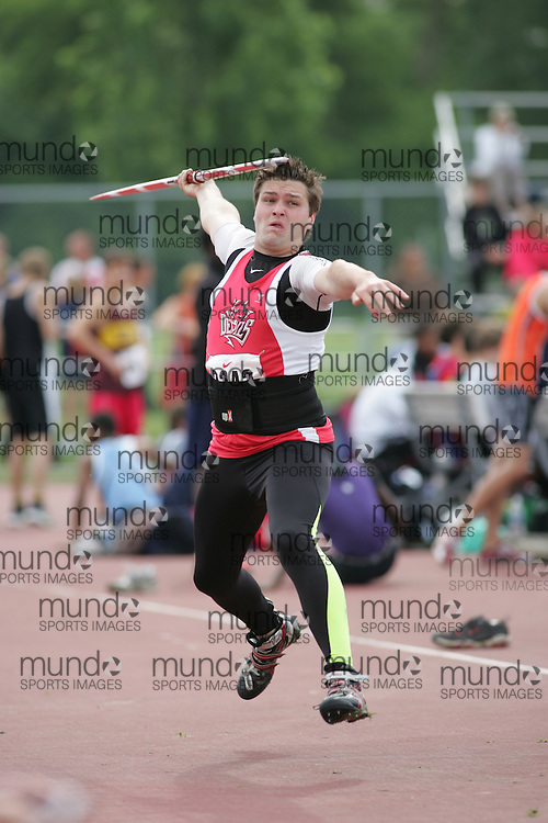 (London, Ontario}---04 June 2010) Scott Rumble of Woodstock - Woodstock competing in the javelin at the 2010 OFSAA Ontario High School Track and Field Championships. Photograph copyright Sean Burges / Mundo Sport Images, 2010.