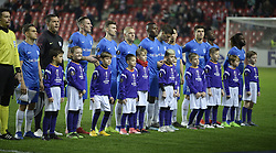 February 14, 2019 - Prague, CZECH REPUBLIC - Genk's players pictured before the start of a soccer game between Czech club SK Slavia Praha and Belgian team KRC Genk, the first leg of the 1/16 finals (round of 32) in the Europa League competition, Thursday 14 February 2019 in Prague, Czech Republic. BELGA PHOTO YORICK JANSENS (Credit Image: © Yorick Jansens/Belga via ZUMA Press)