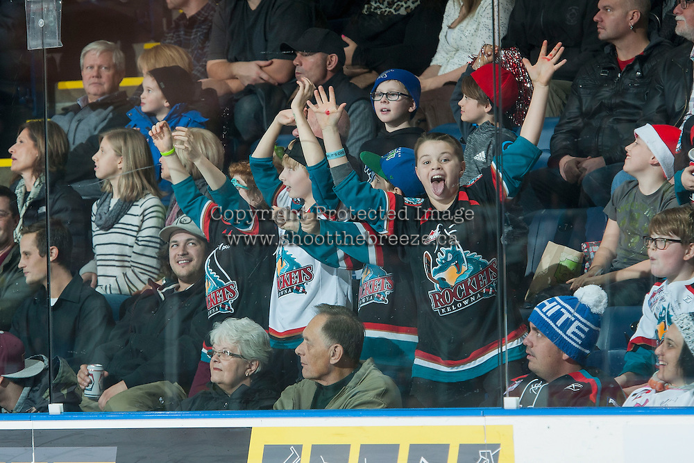 KELOWNA, CANADA - DECEMBER 4: Fans celebrate at goal on December 4, 2015 at Prospera Place in Kelowna, British Columbia, Canada.  (Photo by Marissa Baecker/Shoot the Breeze)  *** Local Caption *** fans