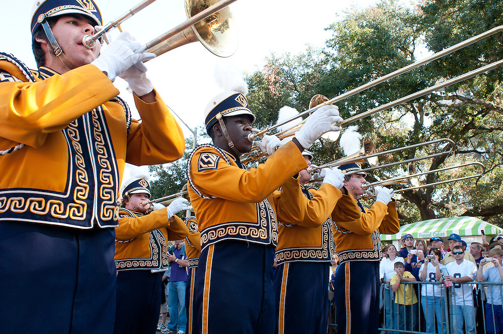 LSU Tigers marching band entering the LSU Tiger Stadium before the Mississippi Rebels and LSU Tigers game.