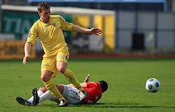 Ivan Knezovic of Domzale vs Ozren Peric of Rudar at 26th Round of Slovenian First League football match between NK Domzale and NK Rudar Velenje in Sports park Domzale, on April 4, 2009, in Domzale, Slovenia. (Photo by Vid Ponikvar / Sportida)