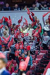 NORMAL, IL - February 26: Illinois State Redbird Red Alert Student section sporting foam fingers during a college basketball game between the ISU Redbirds and the Bradley Braves on February 26 2020 at Redbird Arena in Normal, IL. (Photo by Alan Look)