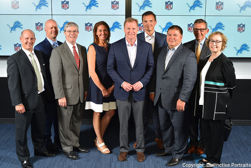 Photos with NFL commissioner Roger Goodell at Detroit's Ford Field on 8/22/17