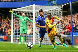 Jeffrey Schlupp of Crystal Palace under pressure from Diego Costa of Chelsea - Mandatory by-line: Jason Brown/JMP - 01/04/2017 - FOOTBALL - Stamford Bridge - London, England - Chelsea v Crystal Palace - Premier League