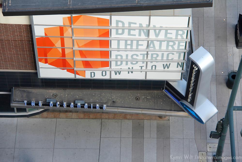 USA, Colorado, Denver. Denver Theatre District sign.