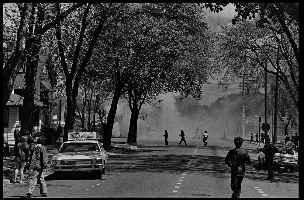 Madison, WI – May, 1970. On May 1, 1970, there was a general student strike in response to the news that the U.S. had expanded bombing into Cambodia. There was a march against the war, led by Veterans for Peace in Vietnam; and after the May 4 shootings at Kent State University in Ohio, there were more protests at UW Madison, which led to the police being called in, and teargassing demonstrators in the streets and on campus. Clouds of teargas near the intersection of Regent and Monroe Streets.