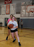 Molly Sottak and Morgan Hall work through practice drills during Tuesday afternoons varsity basketball practice at Belmont High School.  (Karen Bobotas/for the Laconia Daily Sun)