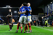 Ronan Curtis (11) of Portsmouth celebrates the 1-0 win at full time during the EFL Sky Bet League 1 match between Portsmouth and Ipswich Town at Fratton Park, Portsmouth, England on 21 December 2019.