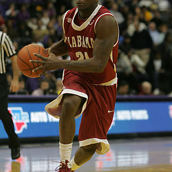 Jan 09, 2010; Baton Rouge, LA, USA; Alabama Crimson Tide guard Senario Hillman (21) drives with the ball against the LSU Tigers during the second half at the Pete Maravich Assembly Center. Alabama defeated LSU 66-49.  Mandatory Credit: Derick E. Hingle-US PRESSWIRE