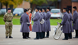 Princess Anne chats with Gurkha bandsmen after she presented Afghanistan Medal Presentation. the Dalton Barracks,Abingdon, Abingdon, United Kingdom. Thursday, 31st October 2013. Picture by i-Images