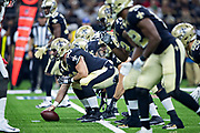 NEW ORLEANS, LA - SEPTEMBER 9:  Max Unger #60 of the New Orleans Saints prepares to snap the ball during a game against the Tampa Bay Buccaneers at Mercedes-Benz Superdome on September 9, 2018 in New Orleans, Louisiana.  The Buccaneers defeated the Saints 48-40.  (Photo by Wesley Hitt/Getty Images) *** Local Caption *** Max Unger