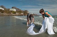 Helga Butzer Felleisen paper art project at York Beach Maine September 26, 2011.