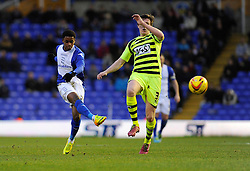 Birmingham City's Reece Brown takes a shot at goal. - Photo mandatory by-line: Dougie Allward/JMP - Tel: Mobile: 07966 386802 18/01/2014 - SPORT - FOOTBALL - St Andrew's Stadium - Birmingham - Birmingham City v Yeovil Town - Sky Bet Championship