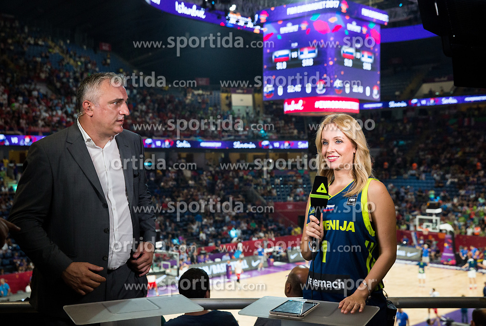 Sasa Doncic and Sanja Modric of POP TV during the Final basketball match between National Teams  Slovenia and Serbia at Day 18 of the FIBA EuroBasket 2017 at Sinan Erdem Dome in Istanbul, Turkey on September 17, 2017. Photo by Vid Ponikvar / Sportida