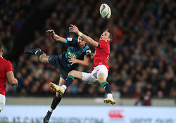 British and Irish Lions' Liam Williams tackles Blues' Matt Duffie in the air, resulting in a sin bin, during the tour match at Eden Park, Auckland. PRESS ASSOCIATION Photo. Picture date: Wednesday June 7, 2017. See PA story RUGBYU Lions. Photo credit should read: David Davies/PA Wire. RESTRICTIONS: Editorial use only. No commercial use or obscuring of sponsor logos.