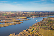 Aerial view of Wisconsin farm lands and Casseville  looking eastward from the Iowa side of the Mississippi River on a beautiful autumn day. Wisconsin's Nelson Dewey State Park sits atop the bluff on the east side of the river, just north of Casseville, Wisconsin.