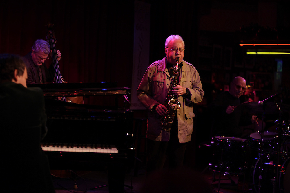 (L-R) Pianist Brad Mehldau, Bassist Charlie Haden, Saxophonist Lee Konitz and drummer Paul Motian  perform at the Birdland Jazz Club on December 8, 2009 in New York City. photo by Joe Kohen for The New York Times