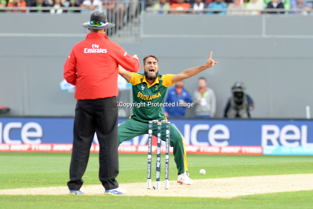 South African bowler Imran Tahir appeals successfully for an lbw during the ICC Cricket World Cup match between Pakistan and South Africa at Eden Park in Auckland, New Zealand. Saturday 07 March 2015. Copyright Photo: Raghavan Venugopal / www.photosport.co.nz