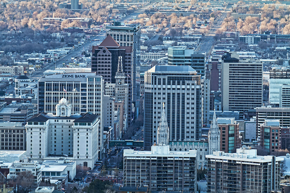 Buildings in downtown Salt Lake City, Utah in the early morning.