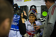 #12 (READE Shanaze) GBR wins the Time Trial and is interviewed on the Hot Seat at the UCI BMX Supercross World Cup in Manchester, UK